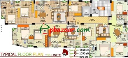 1050 sft flat sale@ East azompur-Uttara  এর ছবি